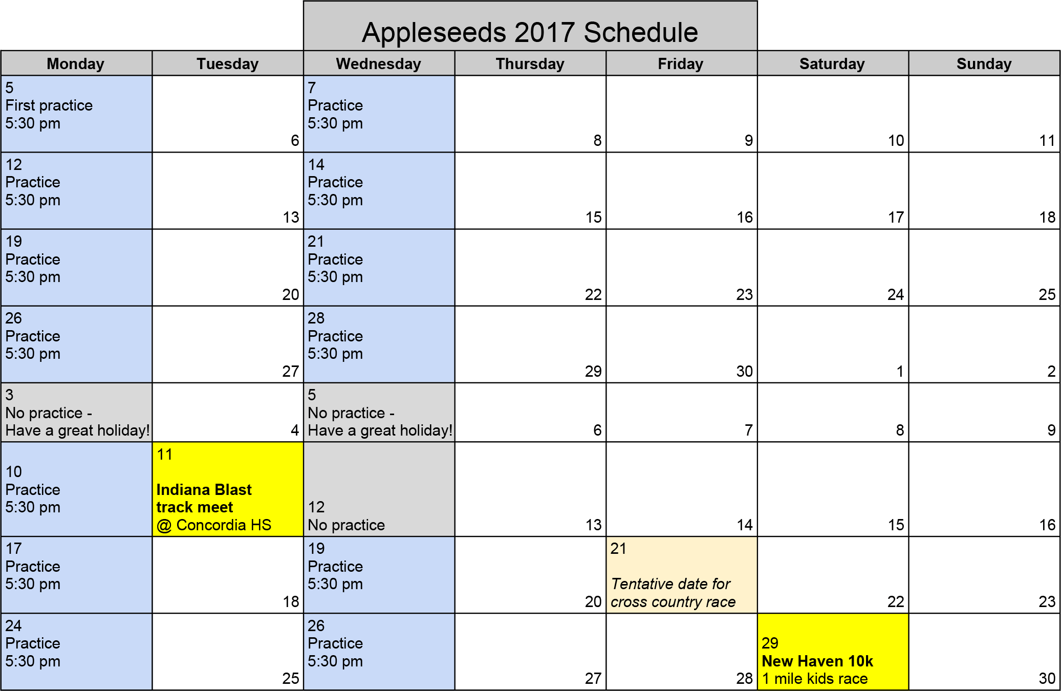 Appleseeds Schedule 2017